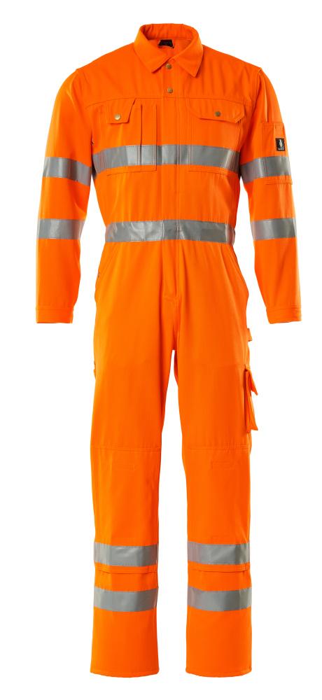 00419-860-14 Overall med knäfickor - hi-vis orange