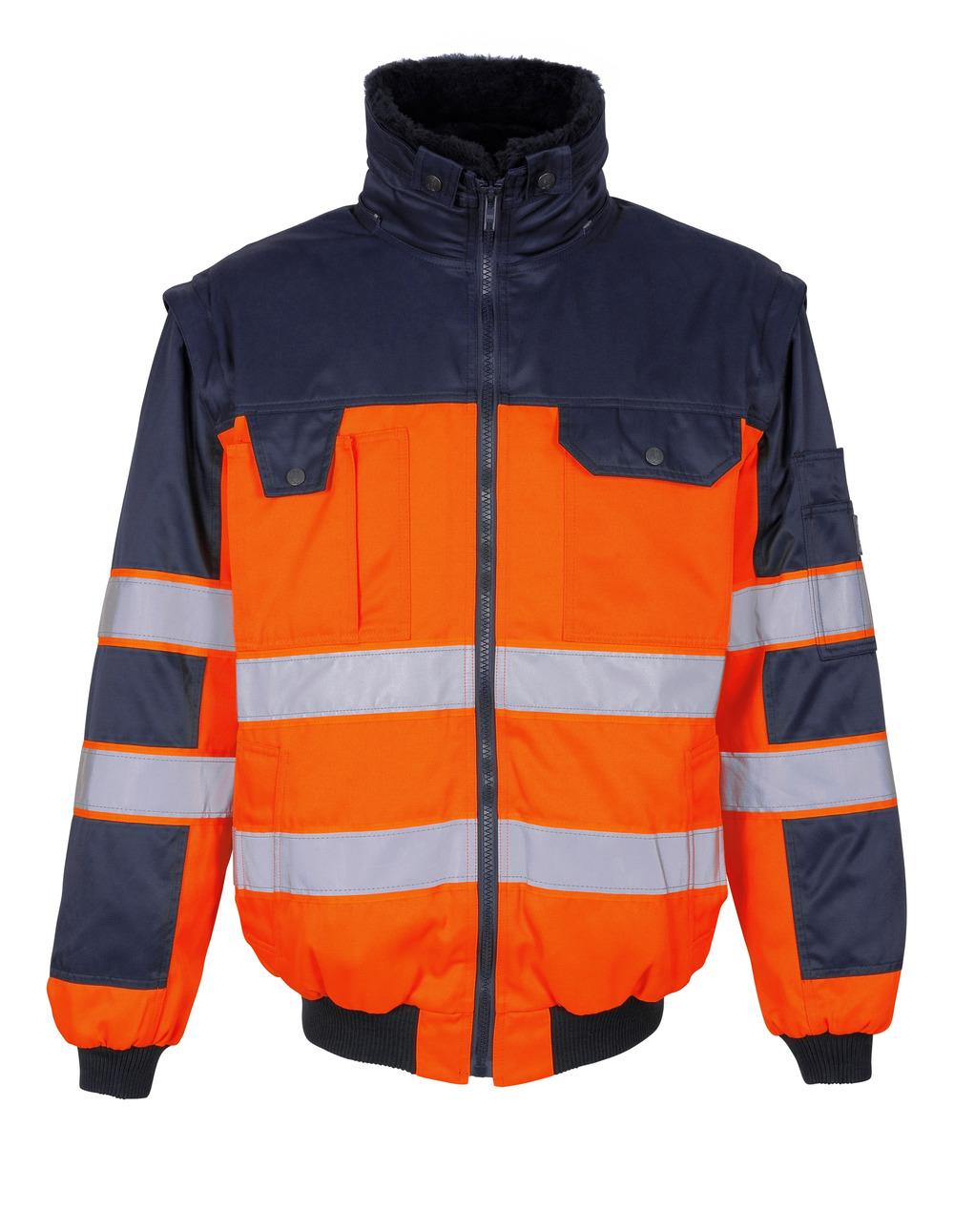 00920-660-141 Pilotjacka - hi-vis orange/marin