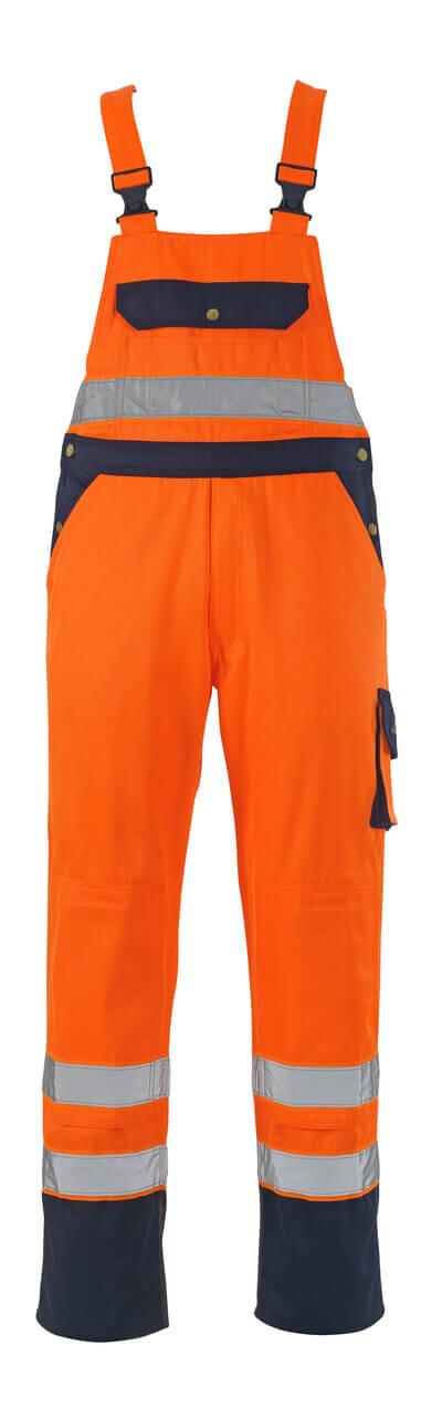 00969-860-141 Snickarbyxor med knäfickor - hi-vis orange/marin