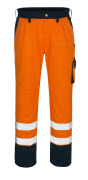 00979-860-141 Byxor med knäfickor - hi-vis orange/marin