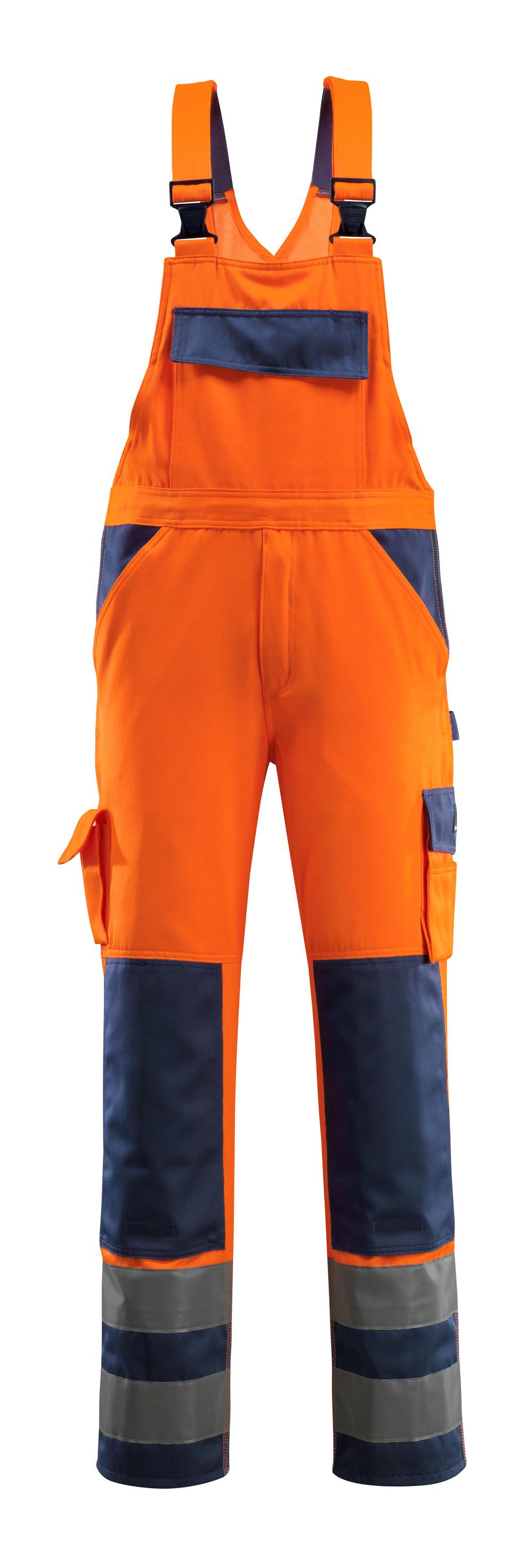 07169-860-141 Snickarbyxor med knäfickor - hi-vis orange/marin