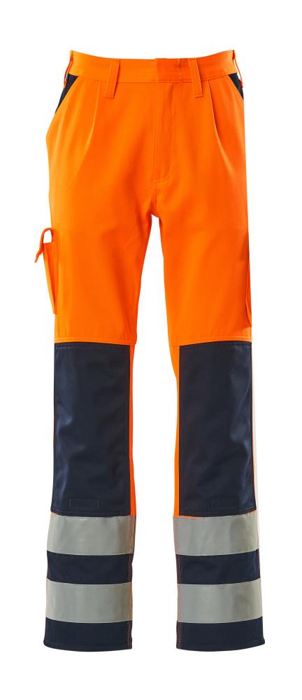 07179-860-141 Byxor med knäfickor - hi-vis orange/marin