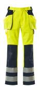 09131-470-171 Byxor med knä- och hängfickor - hi-vis gul/marin
