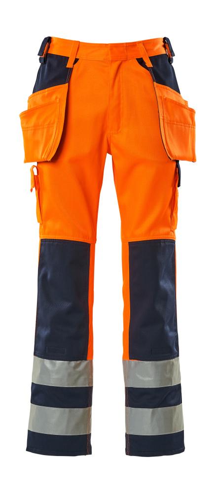 09131-860-141 Byxor med hängfickor - hi-vis orange/marin