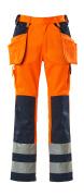 09131-860-141 Byxor med knä- och hängfickor - hi-vis orange/marin