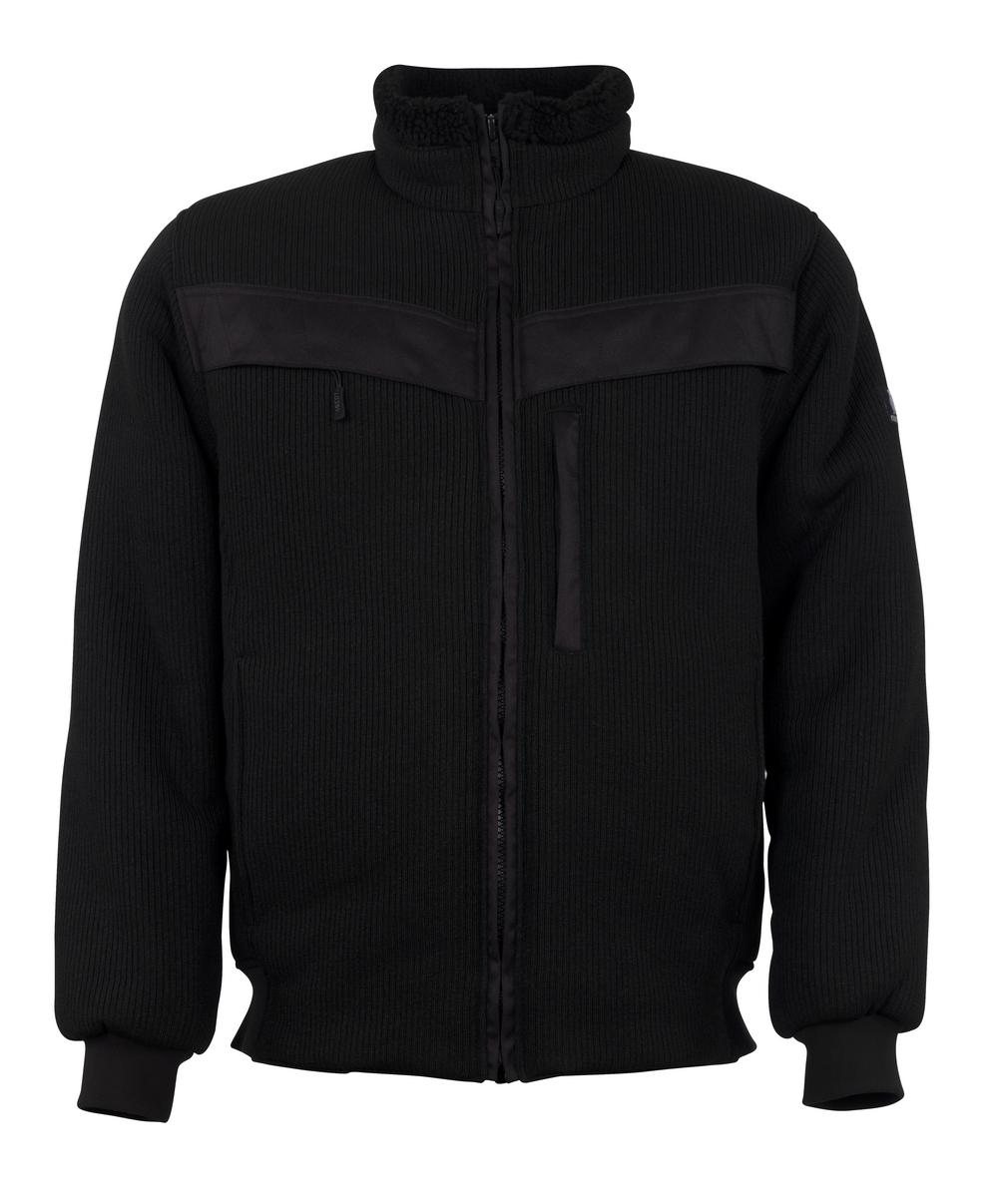 11043-600-09 Stickad jacka med blixtlås - svart