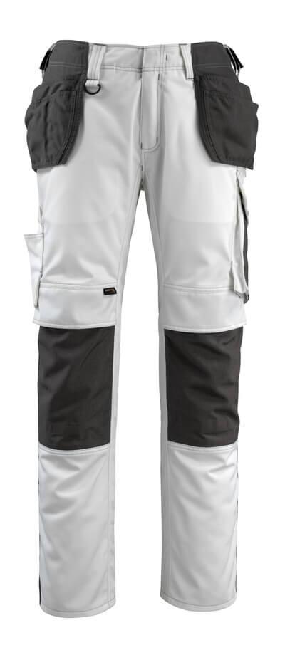 14031-203-0618 Byxor med knä- och hängfickor - vit/mörk antracit