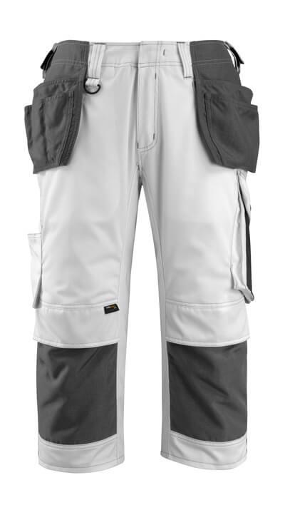 14349-442-0618 Knickers med knä- och hängfickor - vit/mörk antracit