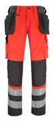 14931-860-A49 Byxor med knä- och hängfickor - hi-vis röd/mörk antracit