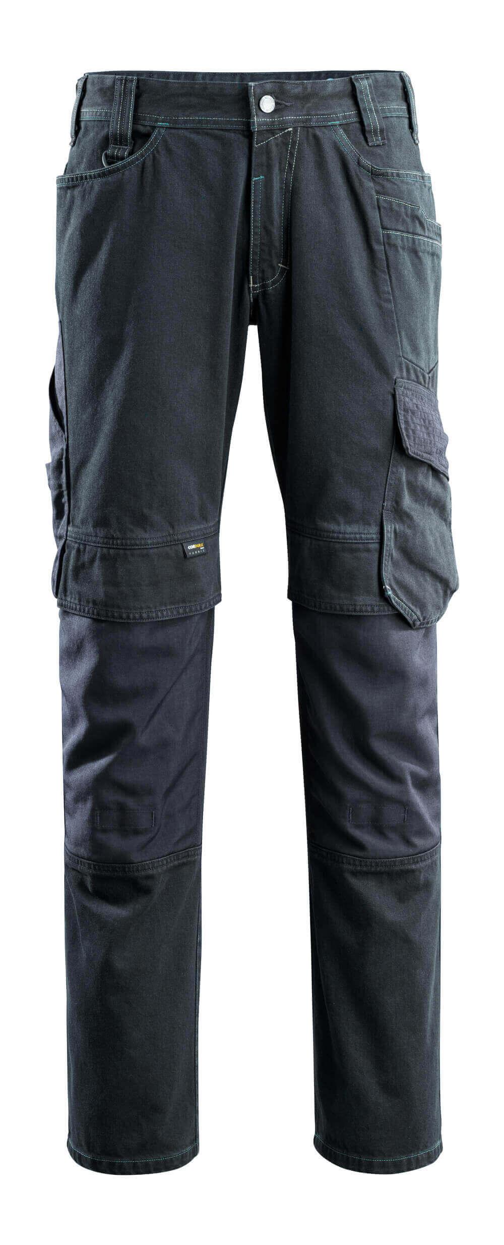 15179-207-86 Jeans med knäfickor - mörk blå denim