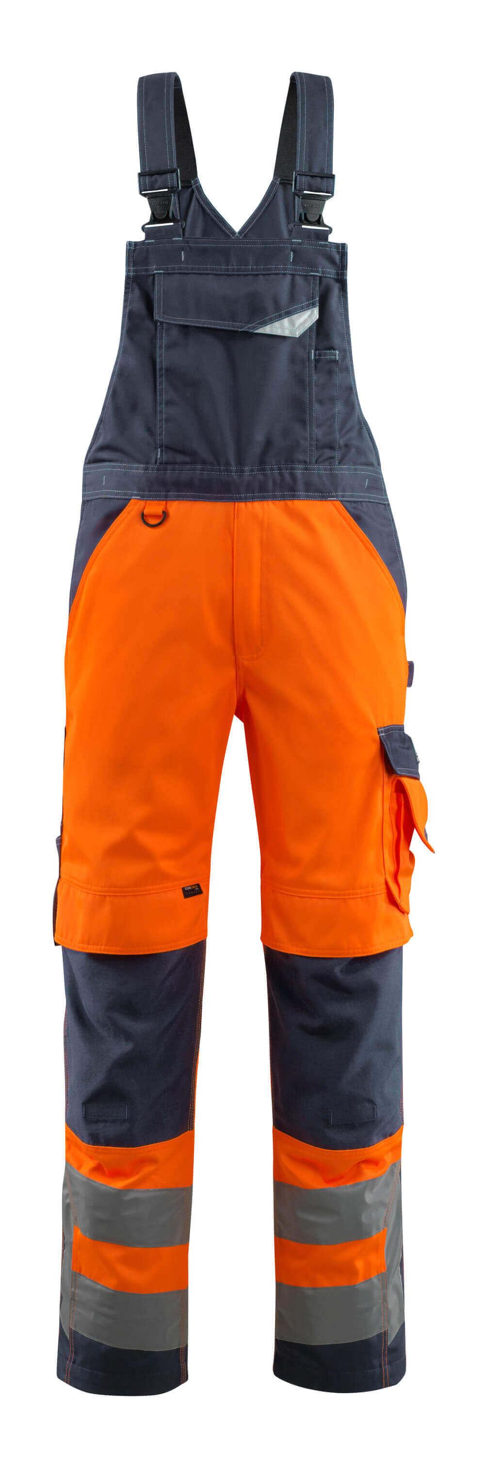 15569-860-14010 Hängselbyxor med knäfickor - hi-vis orange/mörk marin