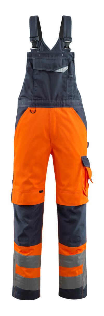 15569-860-14010 Snickarbyxor med knäfickor - hi-vis orange/mörk marin