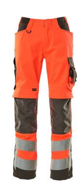 15579-860-14010 Byxor med knäfickor - hi-vis orange/mörk marin