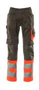 15679-860-01014 Byxor med knäfickor - mörk marin/hi-vis orange