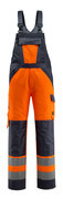 15969-948-14010 Hängselbyxor med knäfickor - hi-vis orange/mörk marin