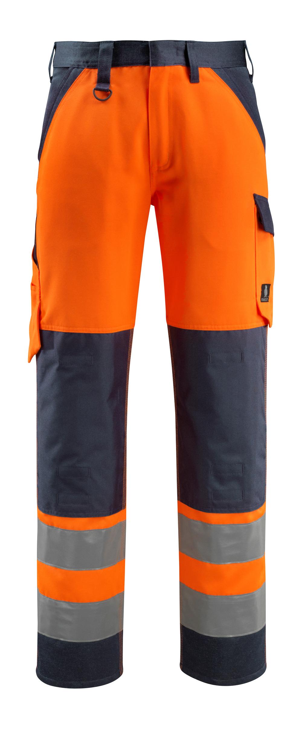 15979-948-14010 Byxor med knäfickor - hi-vis orange/mörk marin