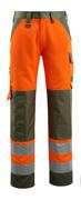 15979-948-1433 Byxor med knäfickor - hi-vis orange/mossgrön