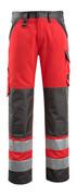 15979-948-22218 Byxor med knäfickor - hi-vis röd/mörk antracit