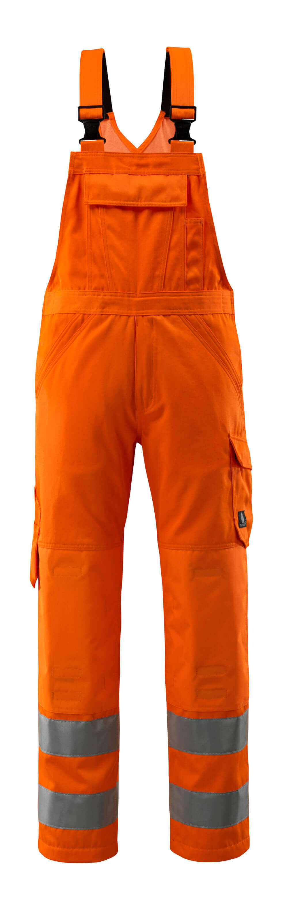 16869-860-14 Hängselbyxor med knäfickor - hi-vis orange