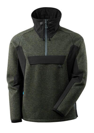 17005-309-01009 Stickad jacka med kort blixtlås - mörk marin/svart