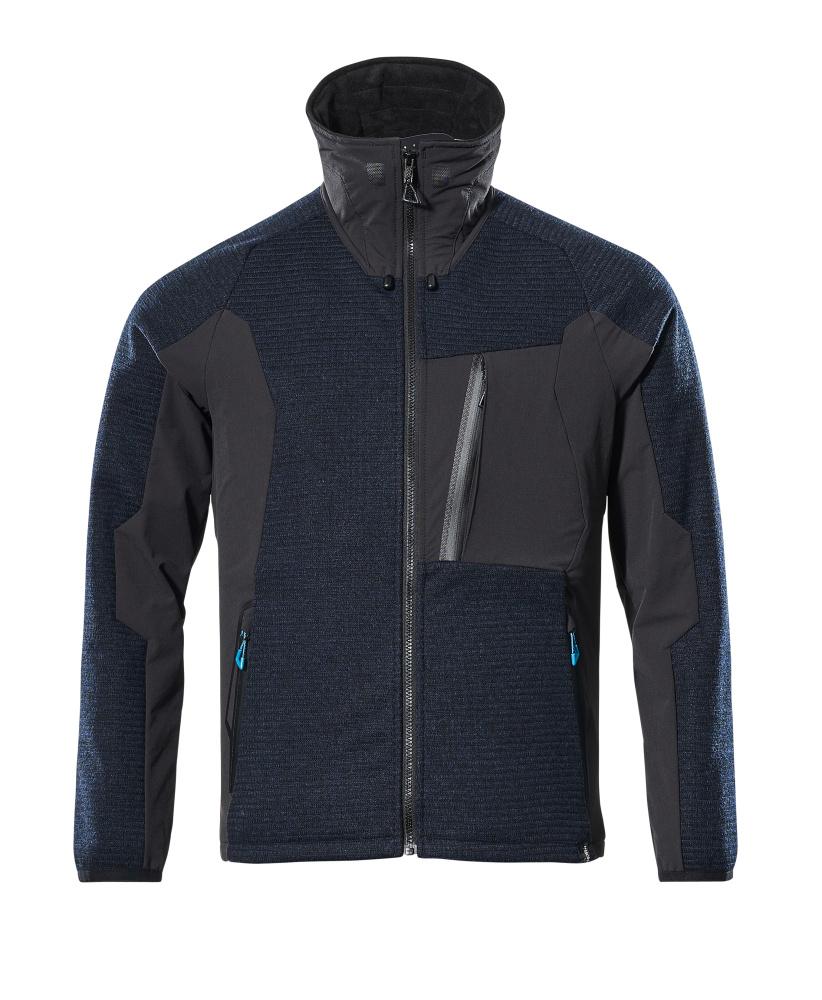 17105-309-01009 Stickad jacka med blixtlås - mörk marin/svart