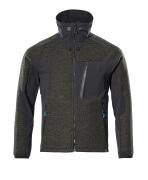 17105-309-3309 Stickad jacka med blixtlås - mossgrön/svart