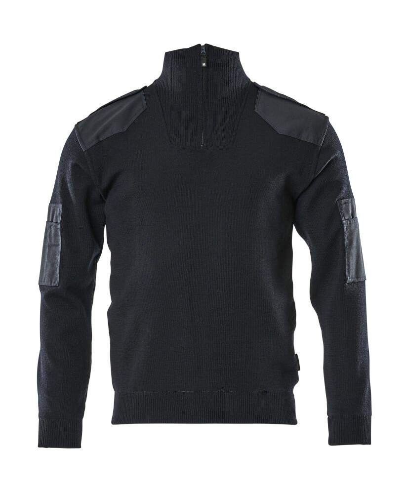 17205-939-010 Stickad tröja med kort blixtlås - mörk marin