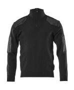 17205-939-09 Stickad tröja med kort blixtlås - svart