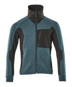 17484-319-4409 Sweatshirt med blixtlås - mörk petroleum/svart