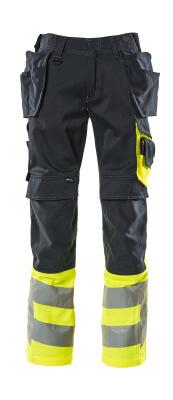 17531-860-01017 Byxor med knä- och hängfickor - mörk marin/hi-vis gul