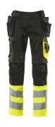 17531-860-0917 Byxor med knä- och hängfickor - svart/hi-vis gul