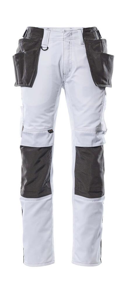 17631-442-0618 Byxor med knä- och hängfickor - vit/mörk antracit