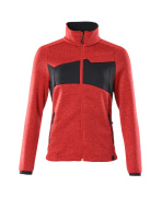 18155-951-20209 Stickad tröja med blixtlås - signalröd/svart