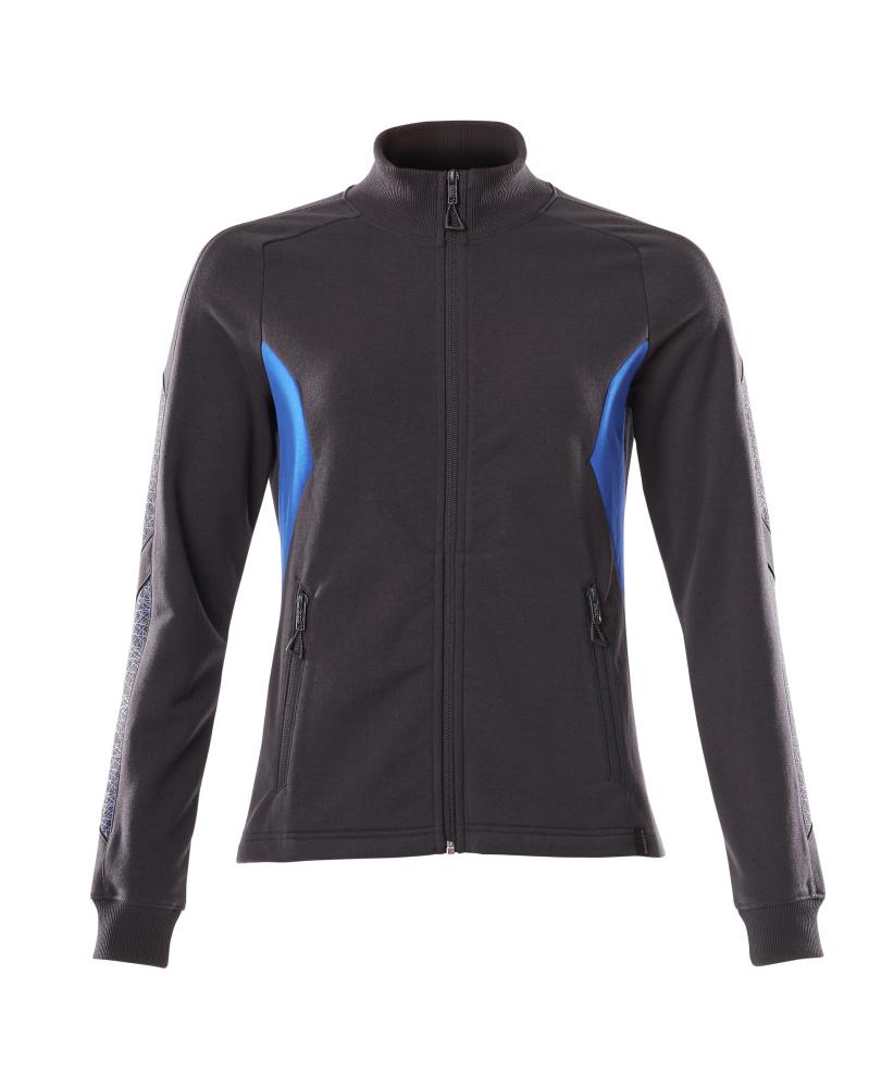 18494-962-01091 Sweatshirt med blixtlås - mörk marin/azurblå