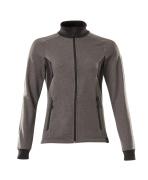 18494-962-1809 Sweatshirt med blixtlås - mörk antracit/svart