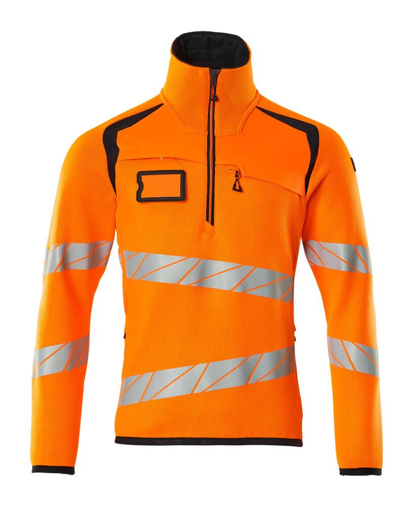 19005-351-14010 Stickad tröja med kort blixtlås - hi-vis orange/mörk marin