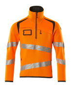 19005-351-1418 Stickad tröja med kort blixtlås - hi-vis orange/mörk antracit