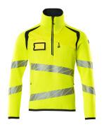 19005-351-17010 Stickad tröja med kort blixtlås - hi-vis gul/mörk marin