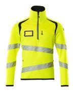 19005-351-1709 Stickad tröja med kort blixtlås - hi-vis gul/svart