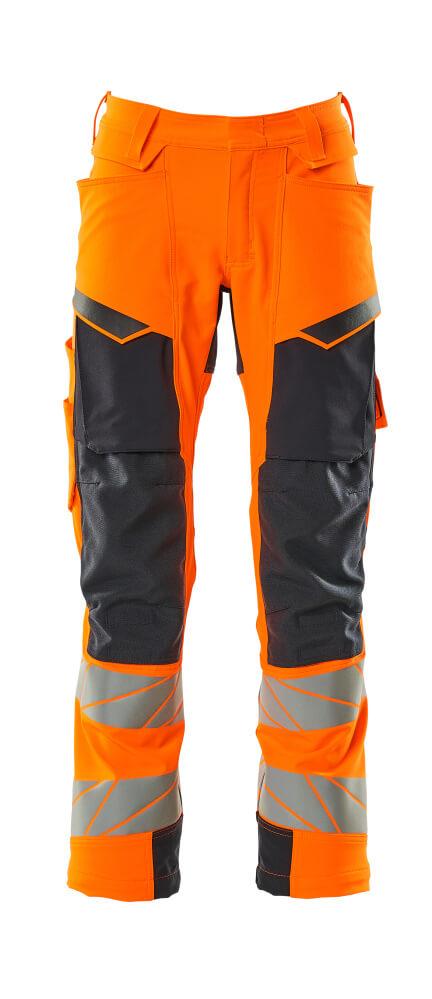 19079-511-14010 Byxor med knäfickor - hi-vis orange/mörk marin