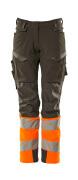 19178-511-01014 Byxor med knäfickor - mörk marin/hi-vis orange