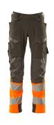 19179-511-01014 Byxor med knäfickor - mörk marin/hi-vis orange