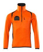 19303-316-14010 Fleecetröja med kort blixtlås - hi-vis orange/mörk marin