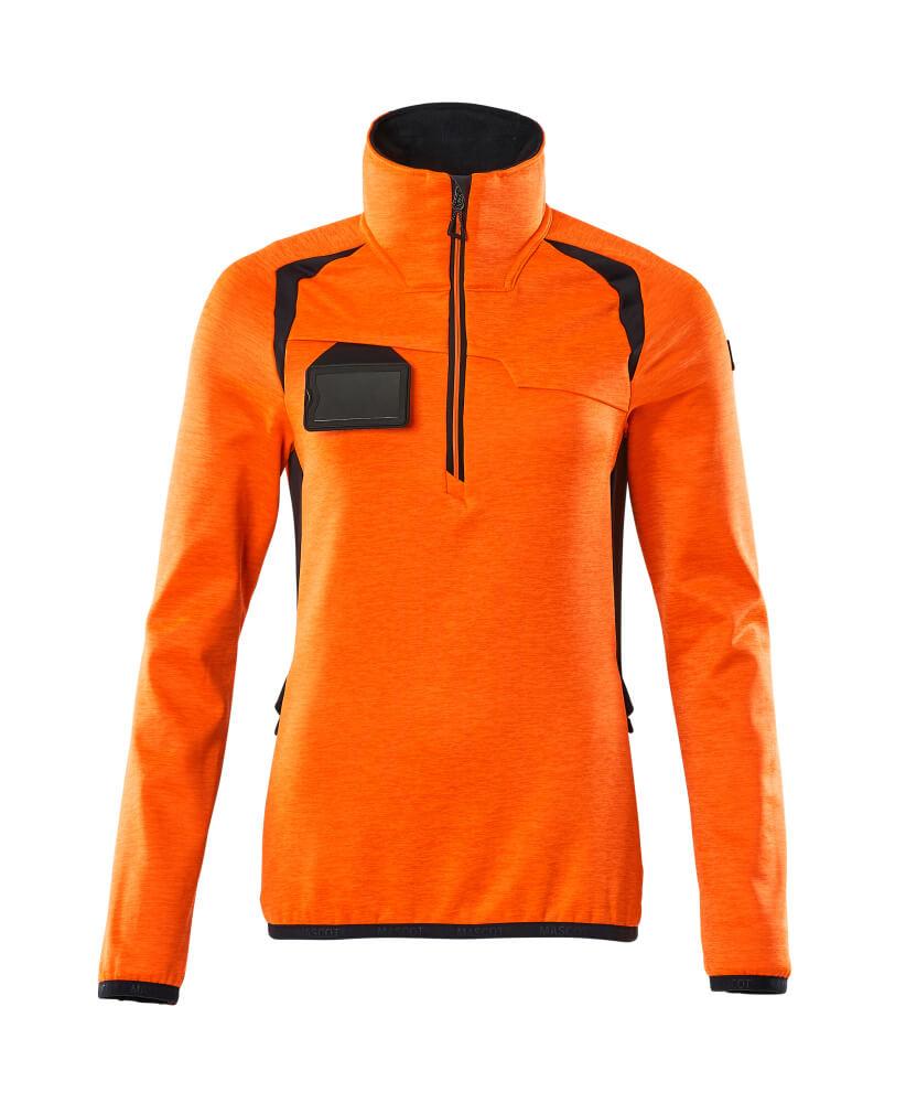 19353-316-14010 Fleecetröja med kort blixtlås - hi-vis orange/mörk marin