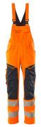 19569-236-14010 Hängselbyxor med knäfickor - hi-vis orange/mörk marin