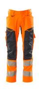 19579-236-14010 Byxor med knäfickor - hi-vis orange/mörk marin