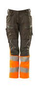 19678-236-01014 Byxor med knäfickor - mörk marin/hi-vis orange