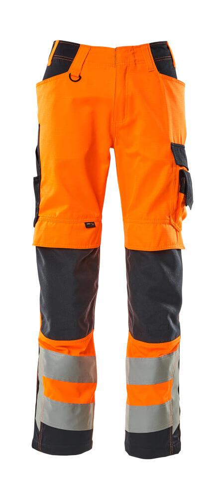 20879-236-14010 Byxor med knäfickor - hi-vis orange/mörk marin