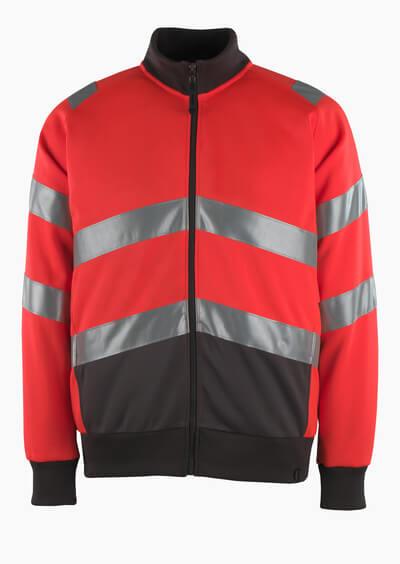 50116-950-A49 Sweatshirt med blixtlås - hi-vis röd/mörk antracit