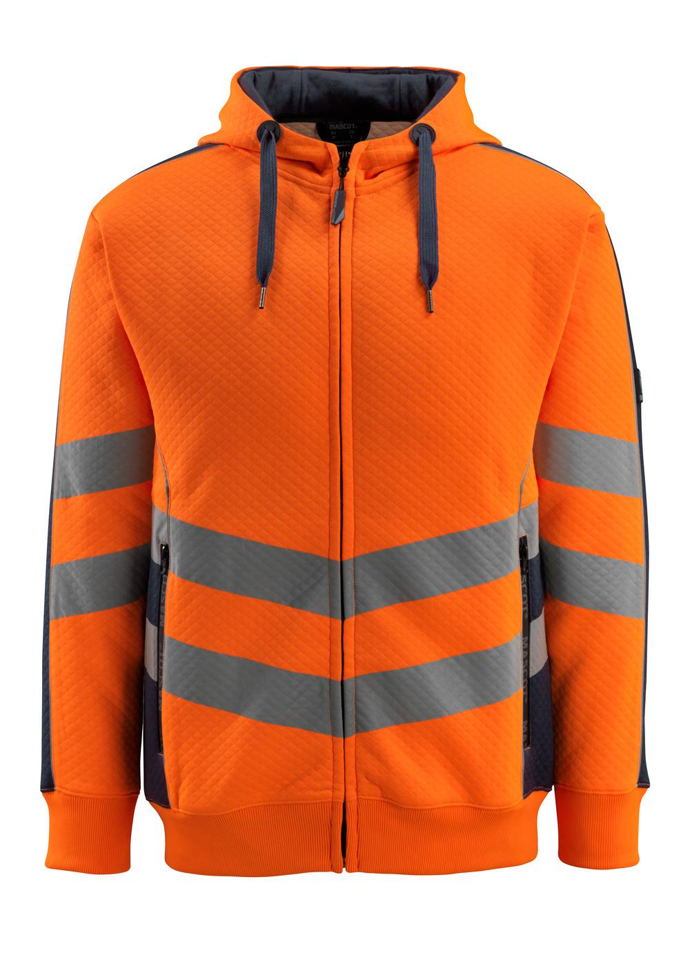 50138-932-14010 Huvtröja med blixtlås - hi-vis orange/mörk marin
